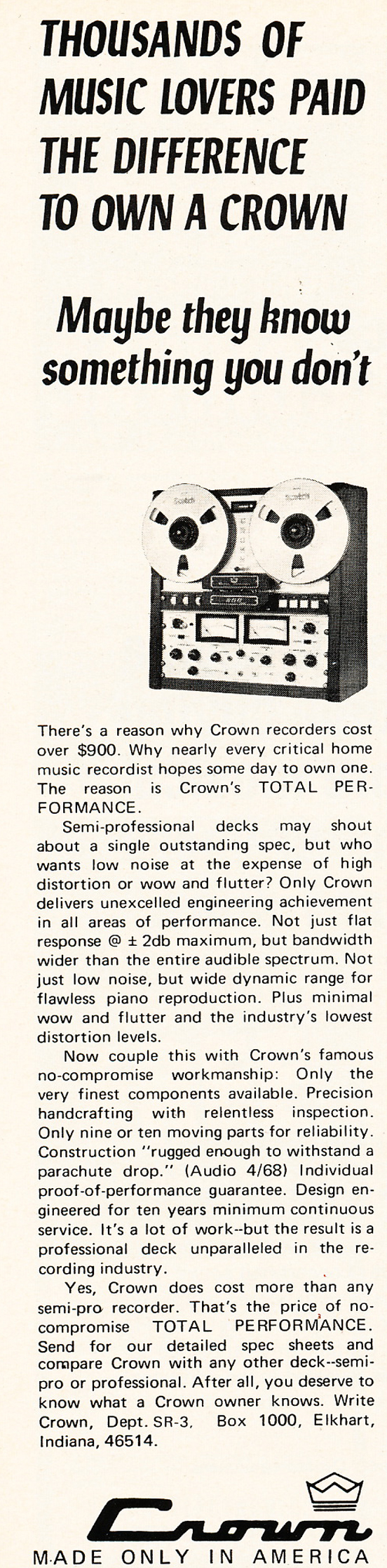1971 Crown reel to reel tape recorder ad in the Reel2ReelTexas.com vintage recording collection