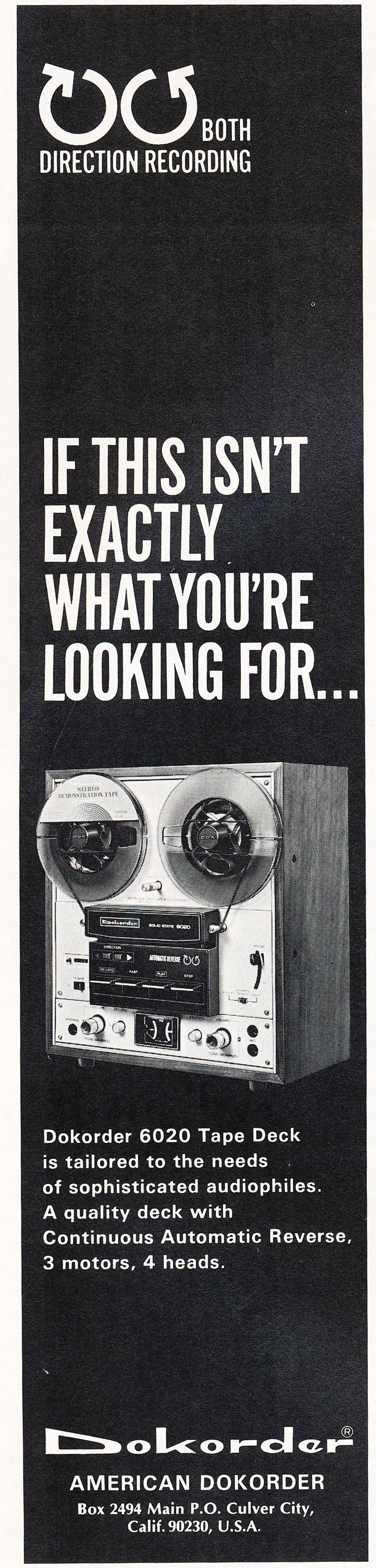 1976 ad for the Dokorder 6020 reel to reel tape recorder in the Reel2ReelTexas vintage recording collection