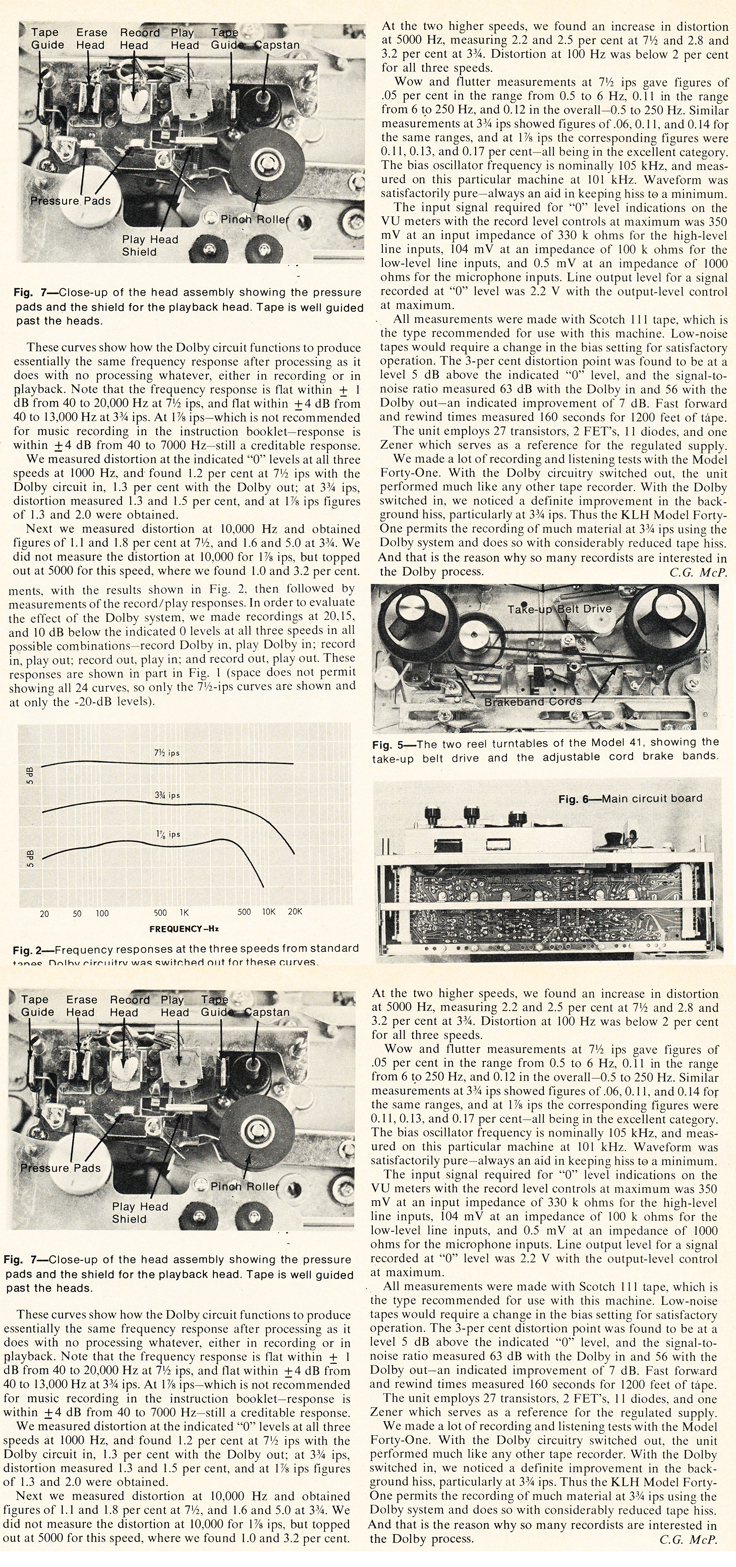 Review of the KLH Model 41 reel to reel tape recorder photo in the Reel2ReelTexas.com vintage reel tape recorder recording collection