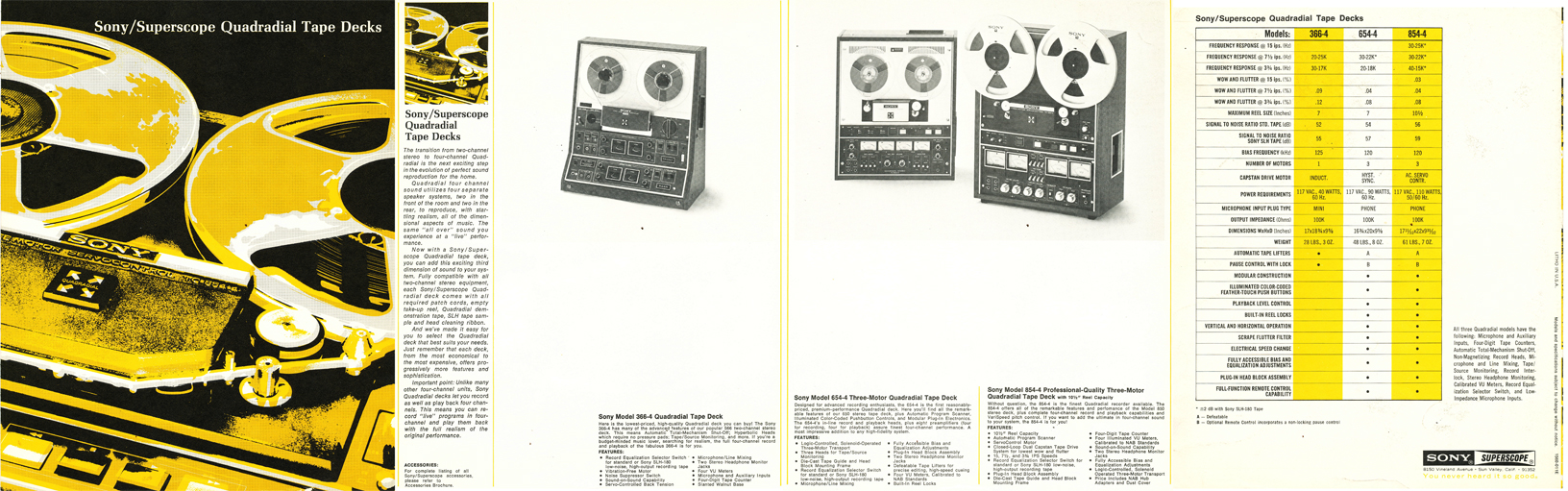 1971 brochure for Sony 4 channel Quadradial reel to reel tape decks in the Reel2ReelTexas.com's vintage recording collection