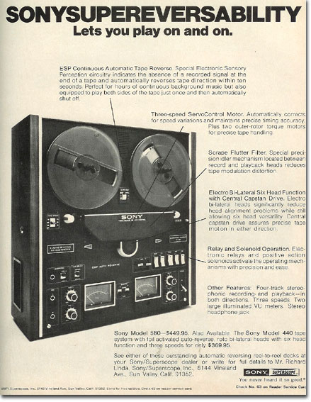 1971 ad for the Sony TC-580 reel tape recorder in the Reel2ReelTexas.com's vintage reel tape recorder recording collection