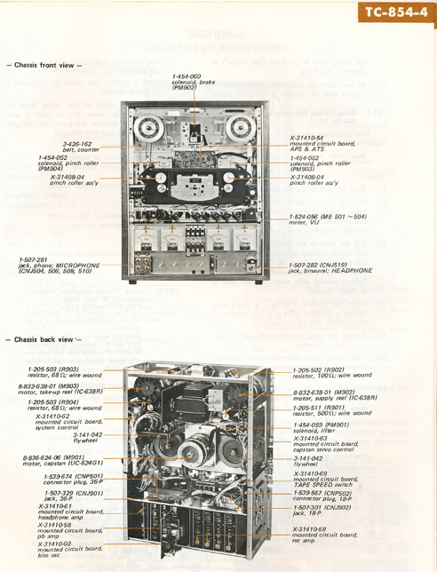 1971 Sony TC-854-4 4 Channel Stereo Tapecorder Service Manual page showing internal parts in Reel2ReelTexas.com vintage reel to reel tape recorder collection