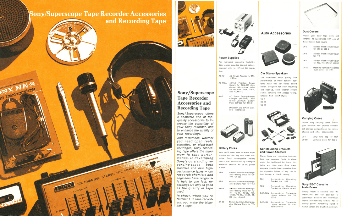 1971 brochure for Sony reel tape recording accessories in the Reel2ReelTexas.com's vintage recording collection