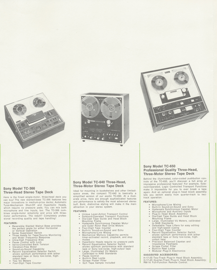 1971 ad for the Sony TC-651 reel tape recorder in the Reel2ReelTexas.com's vintage reel tape recorder recording collection