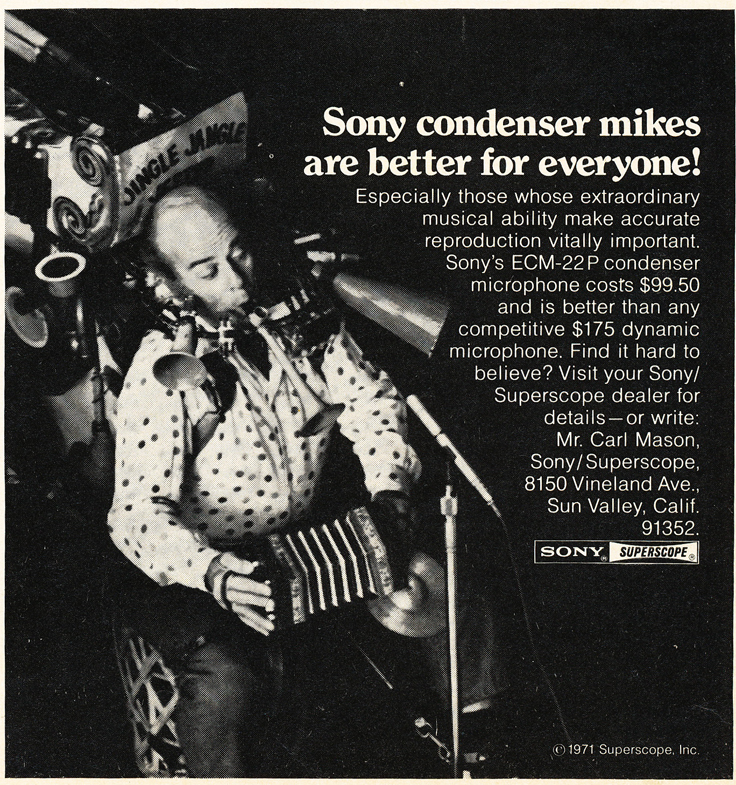 1971 ad for Sony Condenser microphones in Reel2ReelTexas.com's vintage recording collection