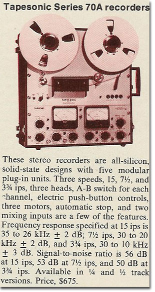 1971 article about the Tapesonic 70A TRS reel to reel tape recorder in the Reel2ReelTexas.com's vintage recording collection