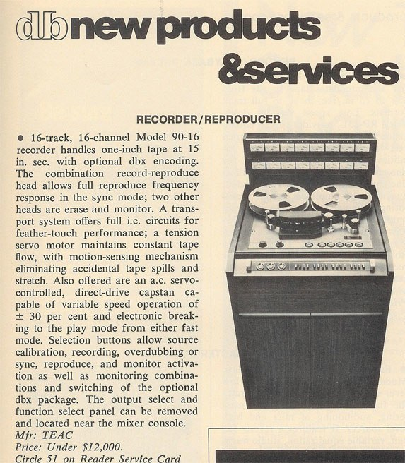 1971 Teac 90-16 16 track professional reel to reel tape recorder ad in the Reel2ReelTexas.com vintage recording collection
