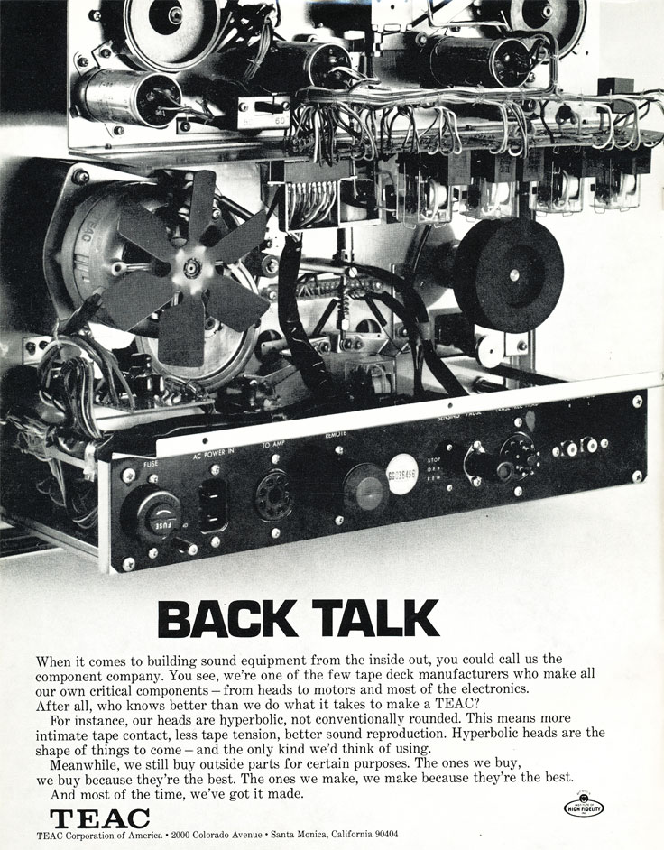 1971 Teac recorders reel to reel tape recorder ad in the Reel2ReelTexas.com vintage recording collection