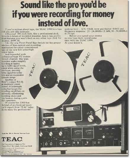 1971 ad for the Teac A-3300 professional reel to reel tape recorder ad in the Reel2ReelTexas.com vintage recording collection