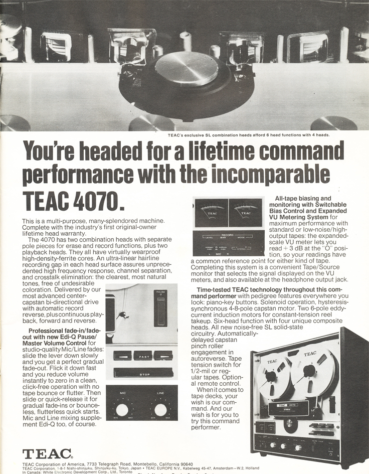 1971 ad for the Teac A-4070 reel tape recorder in the Reel2ReelTexas.com vintage recording collection vintage recording collection