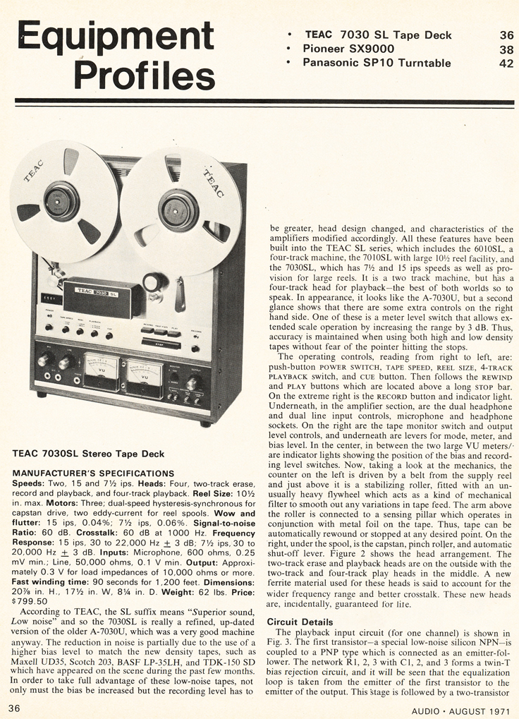 1971 review of the Teac A-7030 reel tape recorder in the Reel2ReelTexas.com vintage recording collection' vintage recording collection