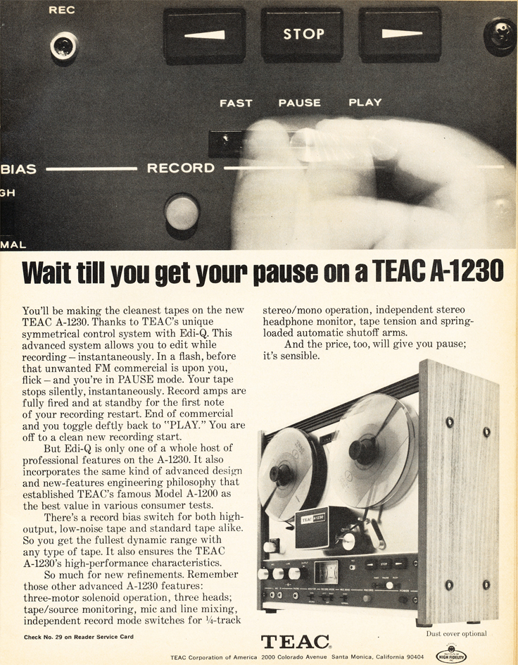 1971 ad for the Teac A-1230 reel tape recorder in   the Museum of magnetic Sound Recording