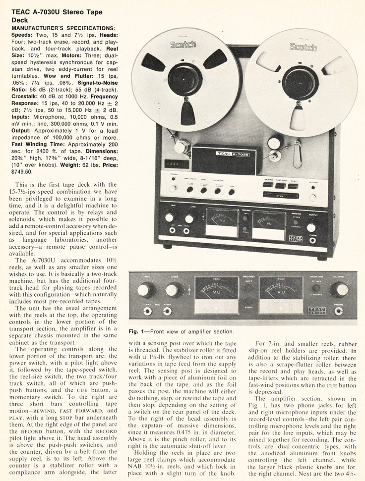 1971 review of the Teac A-7030U reel to reel tape recorder in the Reel2ReelTexas.com vintage recording collection vintage recording collection