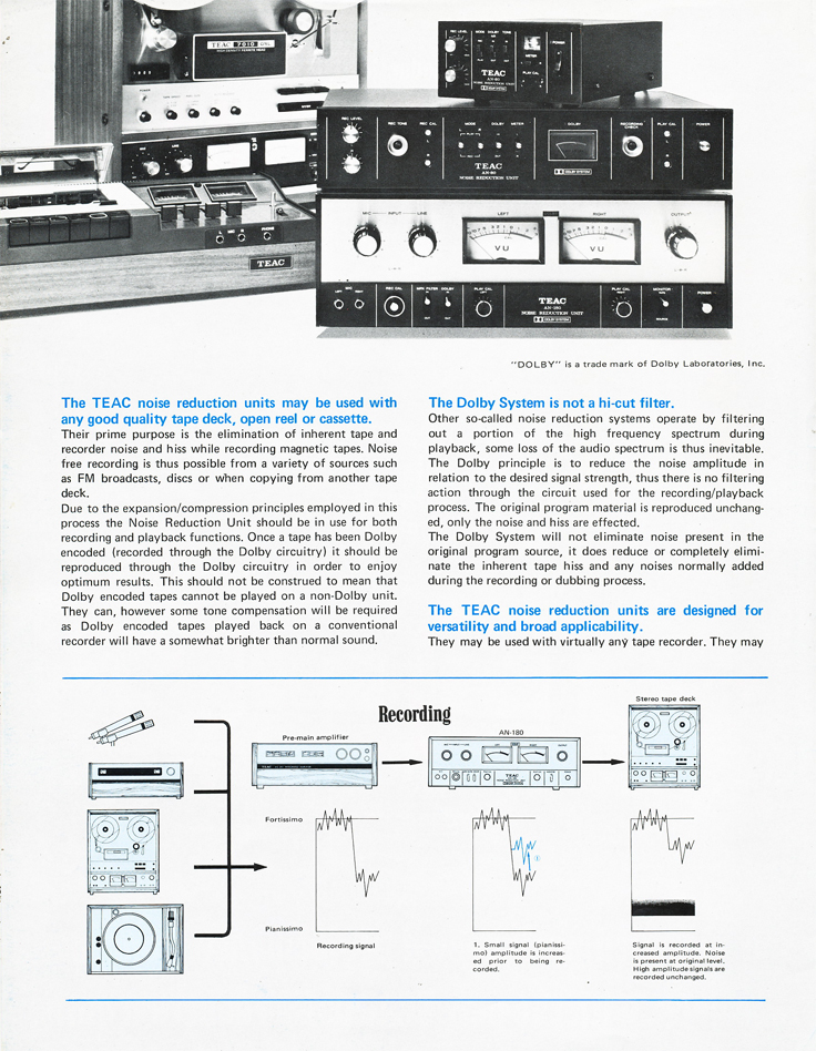 1971 Teac brochure profiling the AN-180, AN-80 and the AN-60 Dolby Noise reduction units in the Reel2ReelTexas.com vintage recording collection vintage recording collection
