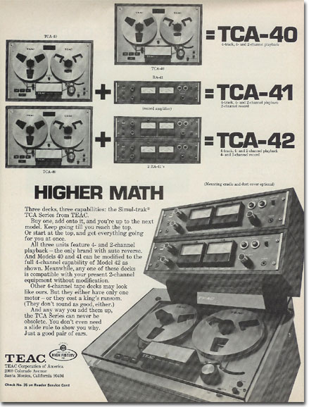 1971 Teac TCA-40 series  recorders reel to reel tape recorder ad in the Reel2ReelTexas.com vintage recording collection