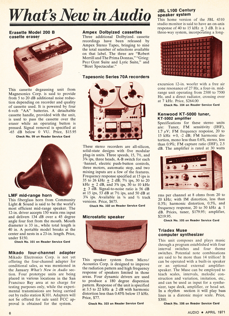 1971 article on  Tapesonic photo in the Reel2ReelTexas.com vintage recording collection