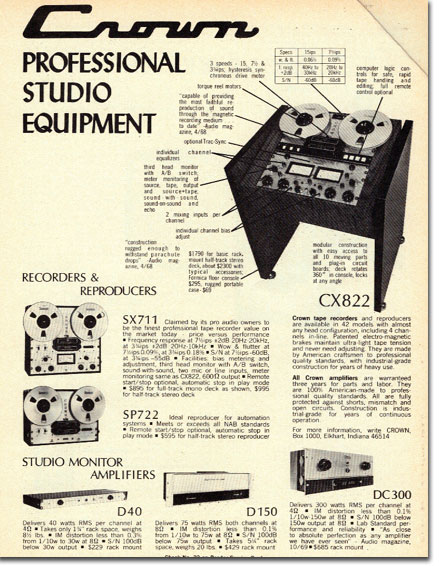 1972 Crown reel to reel tape recorder ad in the Reel2ReelTexas.com vintage recording collection