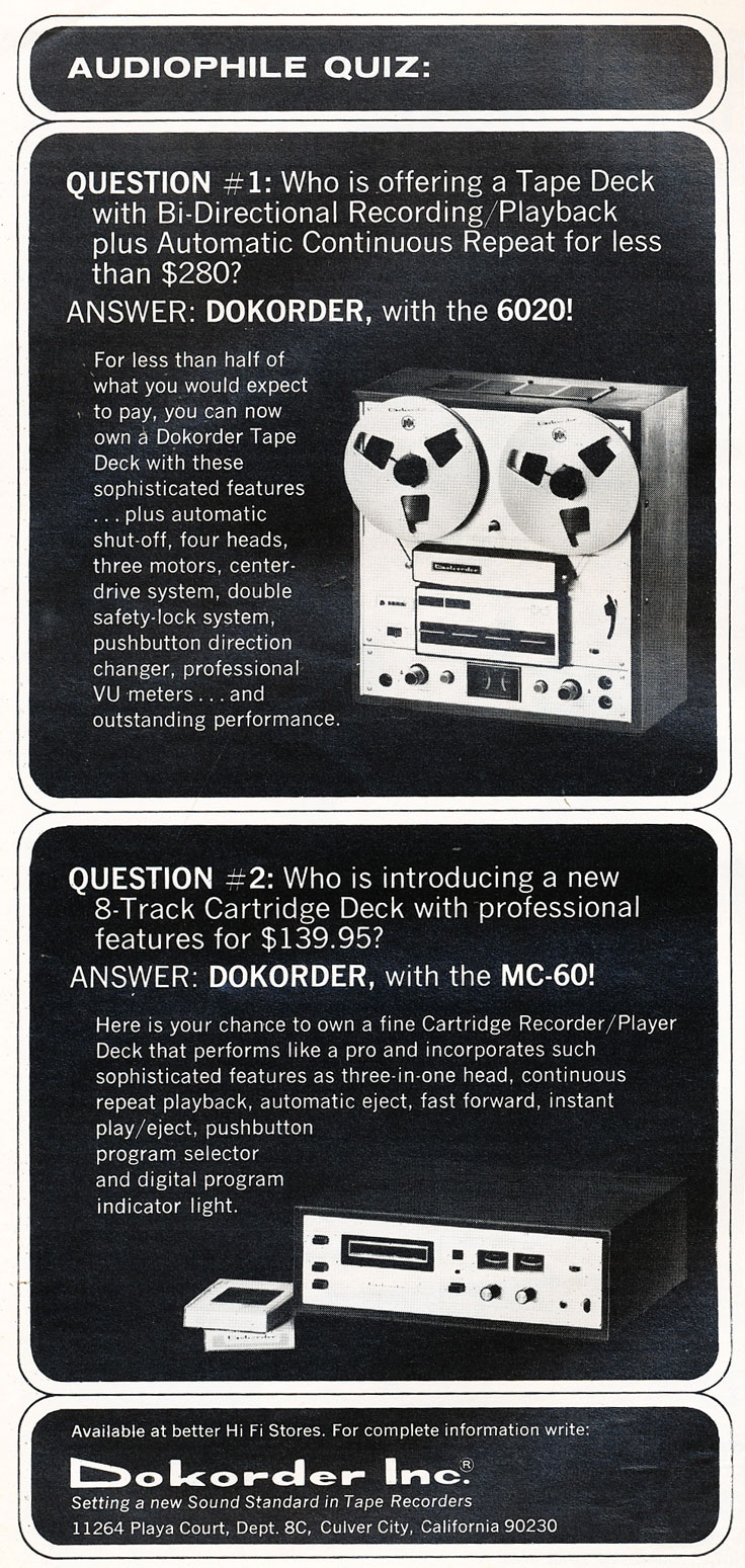 1976 ad for the Dokorder 7100 reel to reel tape recorder in the Reel2ReelTexas vintage reel tape recorder recording collection