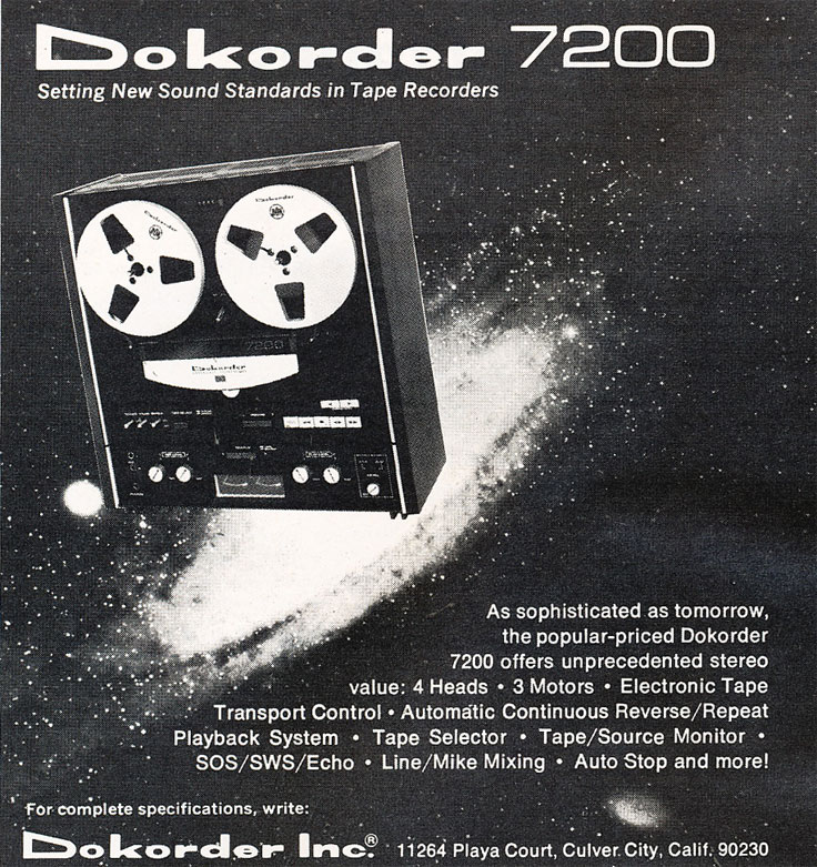 1976 ad for the Dokorder 7200 reel to reel tape recorder in the Reel2ReelTexas vintage reel tape recorder recording collection