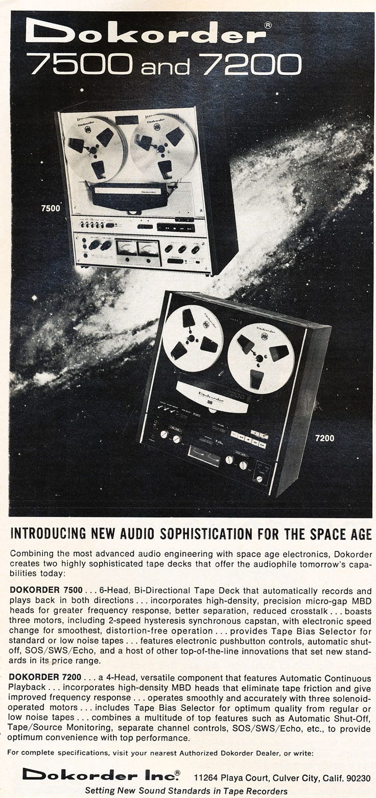 1976 ad for the Dokorder 7500 reel to reel tape recorder in the Reel2ReelTexas vintage reel tape recorder recording collection
