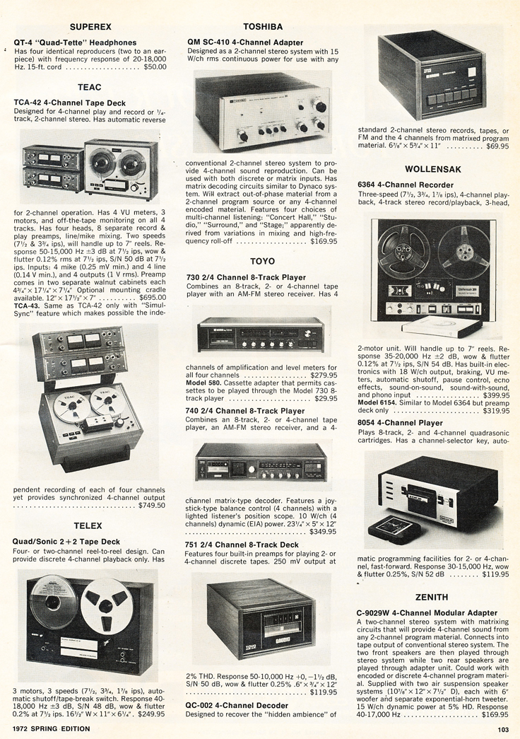 1972 listing of  reel to reel tape recorders in the Reel2ReelTexas.com vintage recording collection