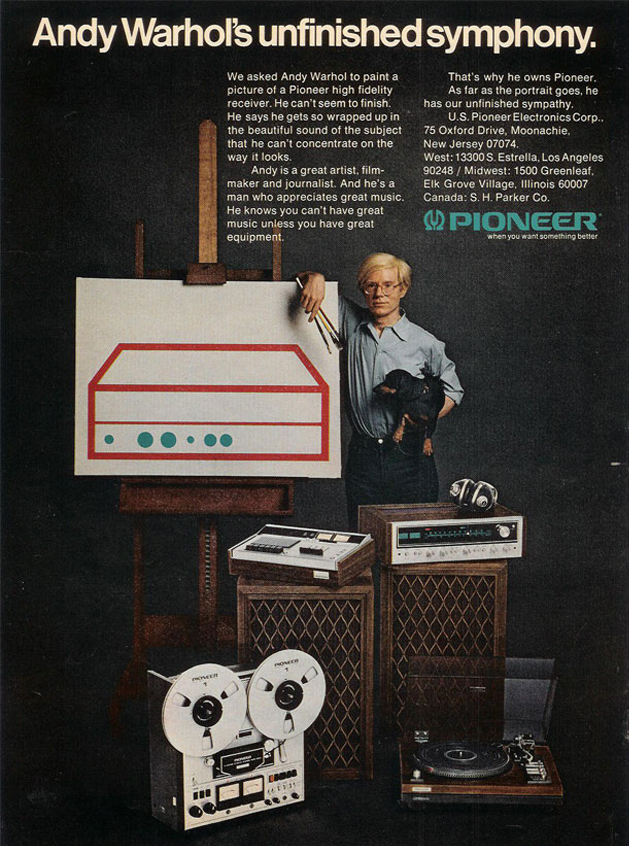 1972 ad for Pioneer  reel to reel tape recorders featuring Andy Warhol in the Reel2ReelTexas.com vintage recording collection