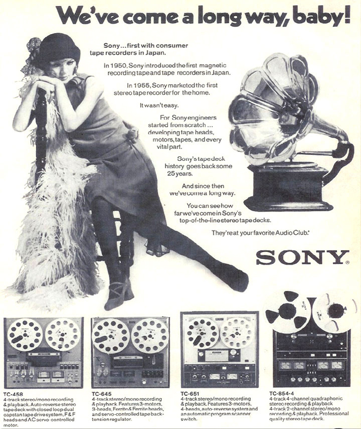 1972 ad for Sony  reel to reel tape recorders in the Reel2ReelTexas.com vintage recording collection
