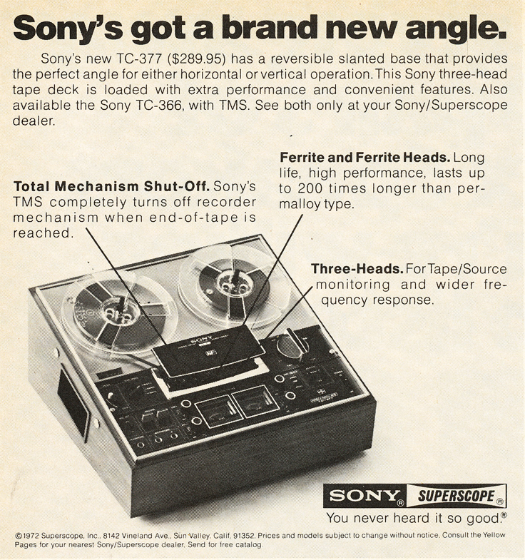 1972 ad for the Sony TC-377 reel to reel tape recorder in Reel2ReelTexas.com's images/R2R/vintage recording collection