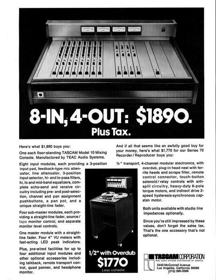 1972 ad for the Teac Tascam Model 10 mixing board photo in the Reel2ReelTexas.com vintage recording collection