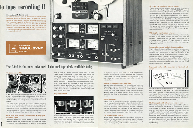 1972 brochure covering the Teac 2340 reel to reel tape recorder in Phantom Productions' reel tape recording collection