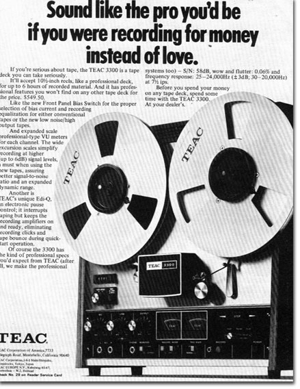 1972 Teac 3300 reel to reel tape recorder ad in the Reel2ReelTexas.com vintage recording collection