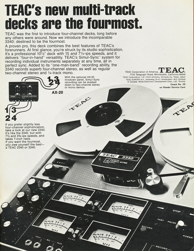 1972 ad for the Teac A-3340 4 track Simul-Sync reel to reel tape recorder in the Reel2ReelTexas.com vintage recording collection vintage recording collection