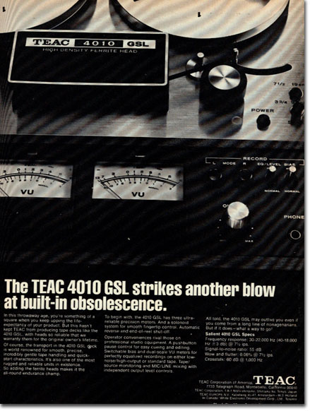 1972 Teac 4010 reel to reel tape recorder ad in the Reel2ReelTexas.com vintage recording collection