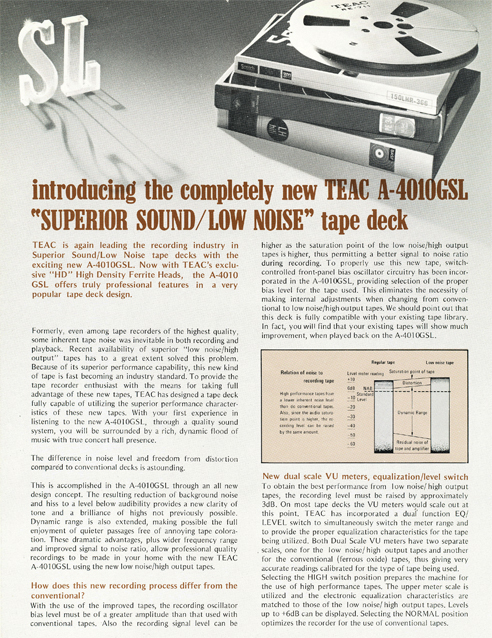 Brochure for the Teac A-4010GSL reel tape recorder in the Reel2ReelTexas.com vintage recording collection