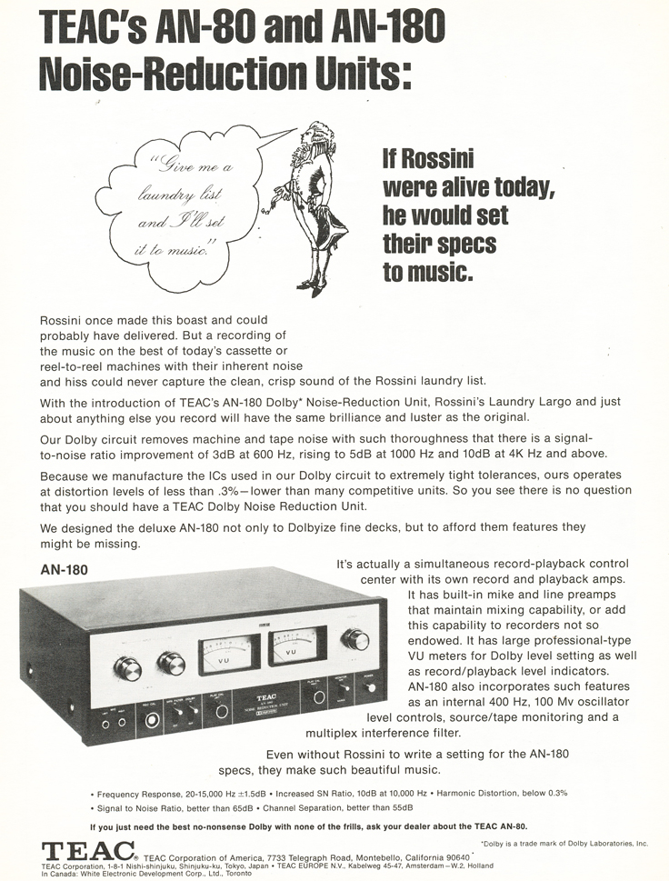 1972 ad for the Teac AN80 and the Teac AN180 Noise Reduction units in the Reel2ReelTexas.com vintage recording collection