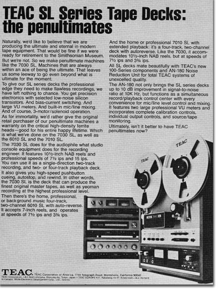 1972 Teac reel to reel tape recorder ad in the Reel2ReelTexas.com vintage recording collection