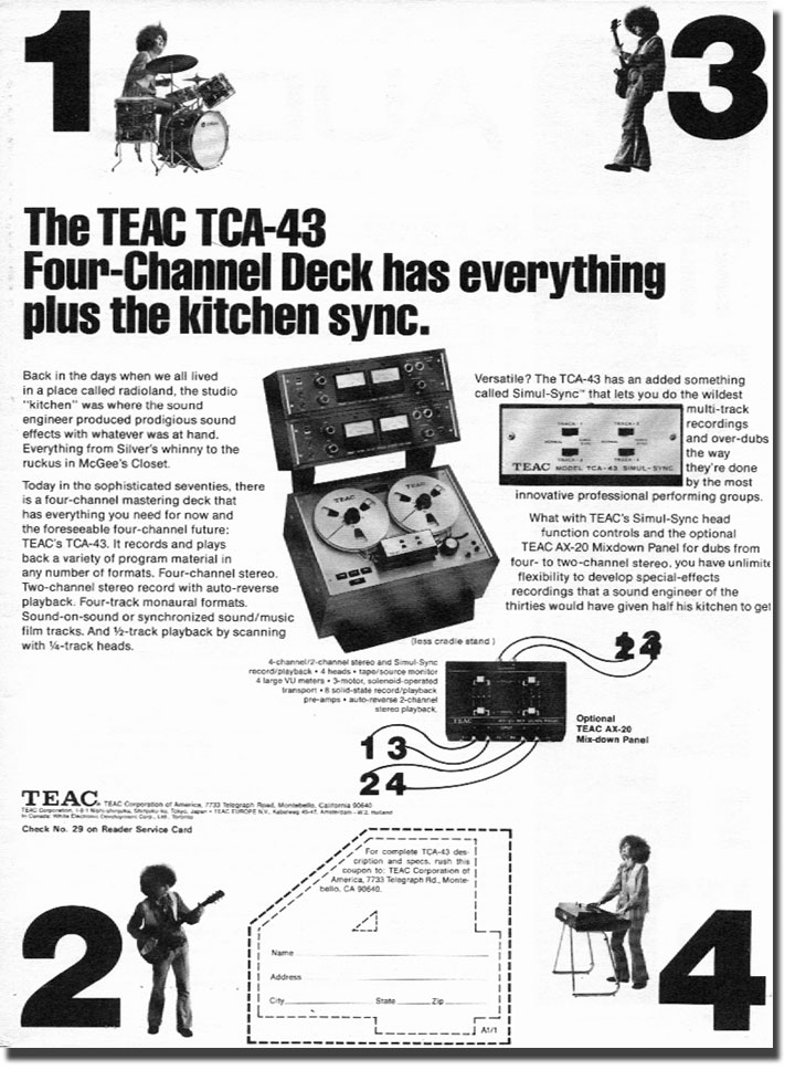 1972 Teac TCA-43 reel to reel tape recorder ad in the Reel2ReelTexas.com vintage recording collection