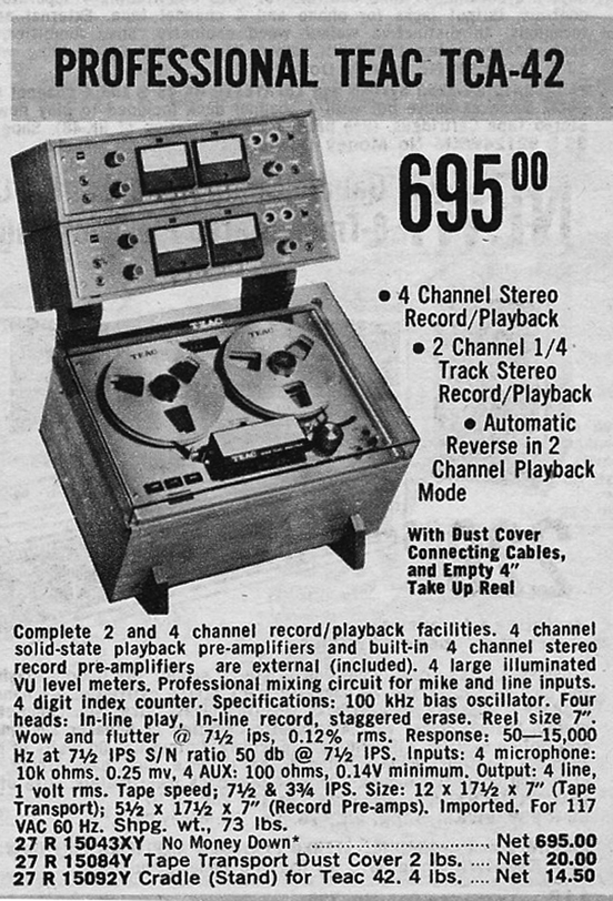 Teac TCA ads for the  4 track Simil-Sync reel to reel tape recorder in the Reel2ReelTexas.com vintage recording collection