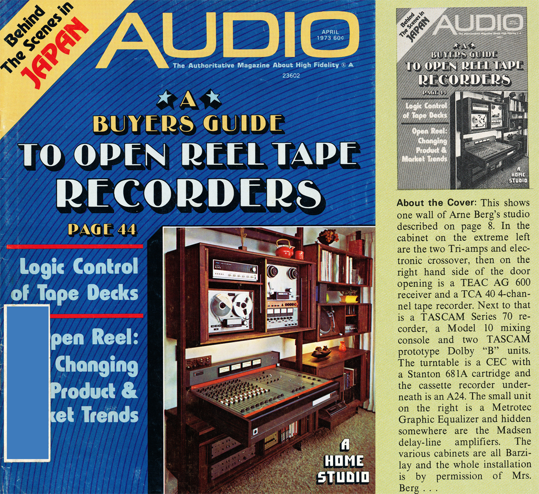1973 April cover of the Audio magazine featuring Open Reel Tape Recorders in the Reel2ReelTexas.com vintage recording collection