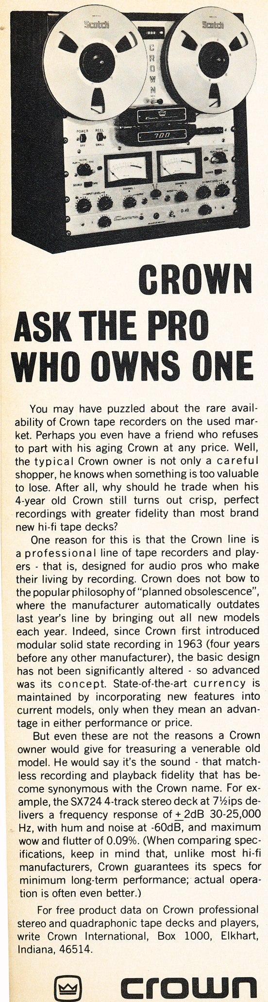1973 Crown reel to reel tape recorder ad in the Reel2ReelTexas.com vintage recording collection