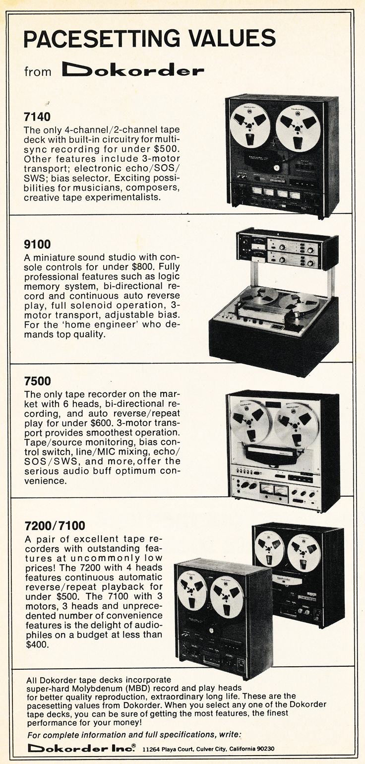 1976 ad for the Dokorder 9020 reel to reel tape recorder in the Reel2ReelTexas.com vintage recording collection
