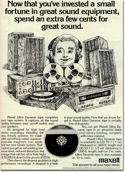 Maxell magnetic tape ad in the Reel2ReelTexas-MOMSR - Theophilus vintage recording collection