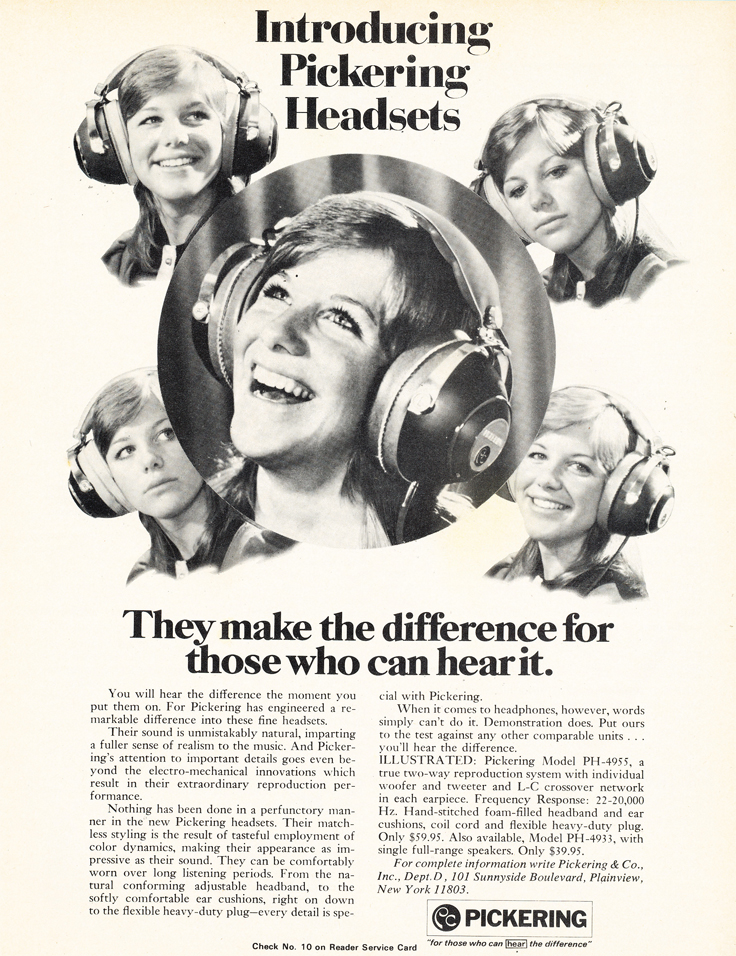1973 ad for Pickering headphones in the Reel2ReelTexas.com vintage recording collection