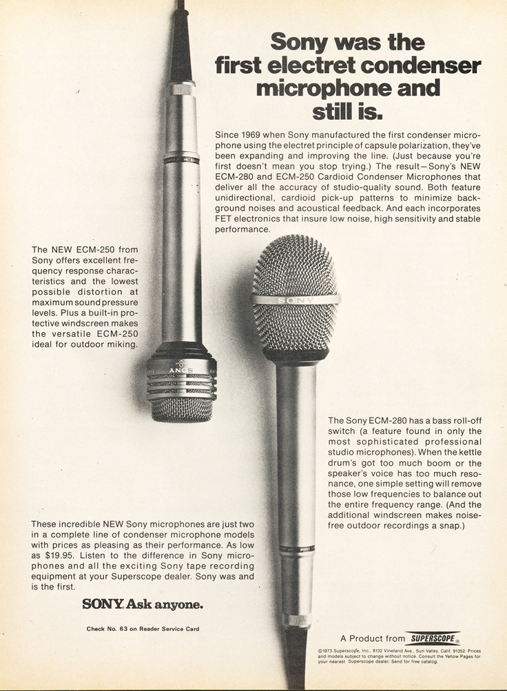 1973 ad for Sony Superscope Microphones in Reel2ReelTexas.com's images/R2R/vintage recording collection
