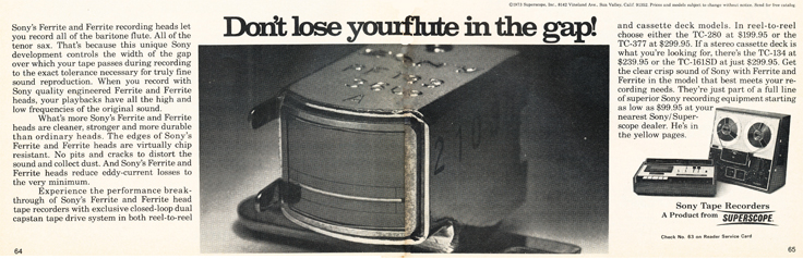 1973 ad for the Sony TC-377 reel to reel tape recorder in Reel2ReelTexas.com's images/R2R/vintage recording collection