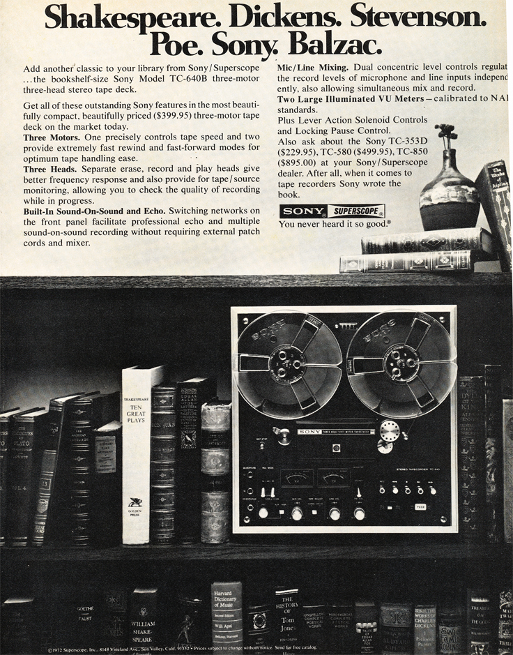 1973 ad for the Sony TC-640 reel to reel tape recorder in Reel2ReelTexas.com's vintage recording collection