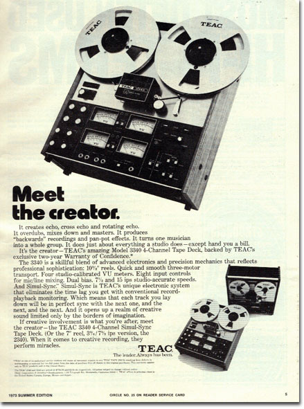 1973 ad for the Teac A-3340 reel to reel tape recorder in the Reel2ReelTexas.com vintage recording collection