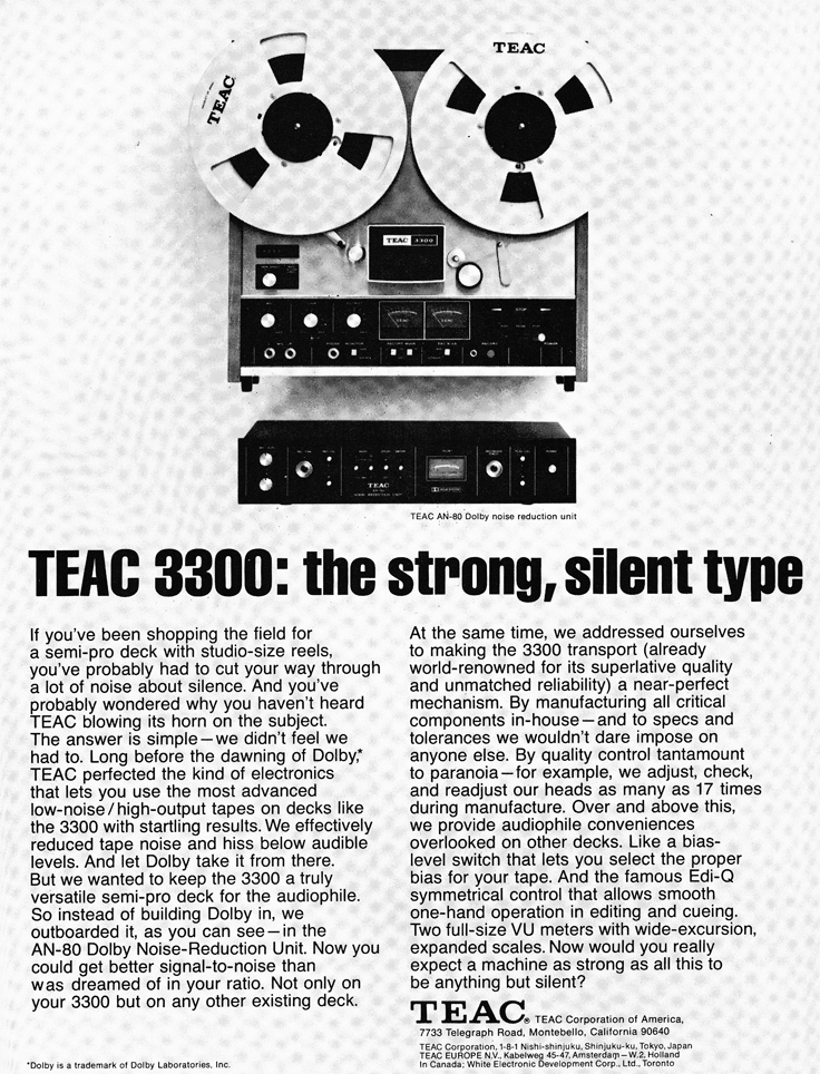 1973 ad for the Teac A-3300 reel to reel tape recorder in the Reel2ReelTexas.com vintage recording collection