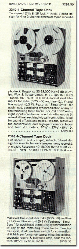 1973 Teac Specs  in the Reel2ReelTexas.com vintage recording collection vintage reel to reel tape recorder collection