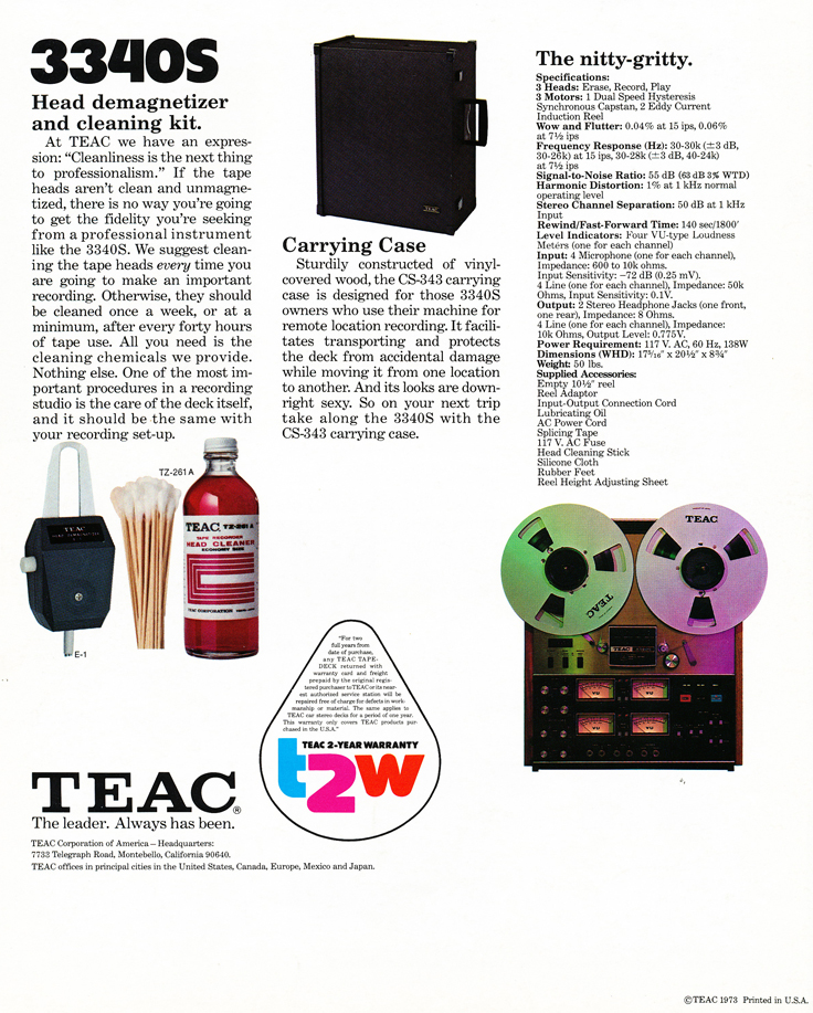 1973 Teac 3340S brochure in the Reel2ReelTexas.com vintage recording collection vintage reel to reel tape recorder collection